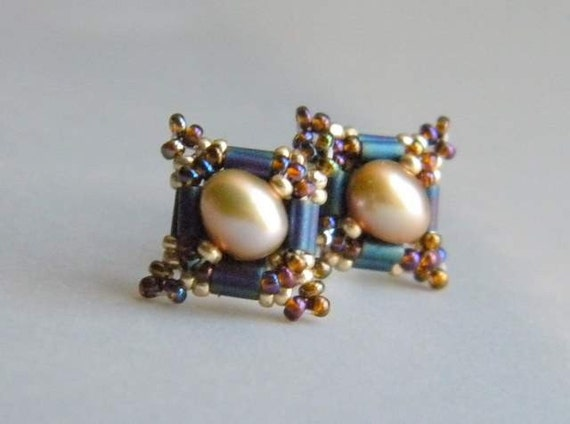 Hand Beaded Freshwater pearl earrings with a Victorian flair