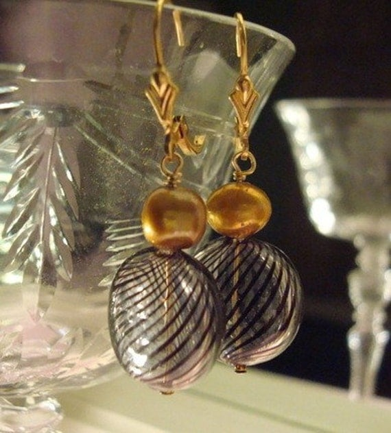 Blown Glass Lentils with gold pearl earrings