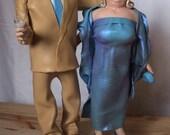 Custom OOAK wedding cake topper portrait figurine set for Sismos