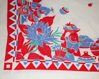 Gorgeous Vintage Cotton Tablecloth with Southwest Theme