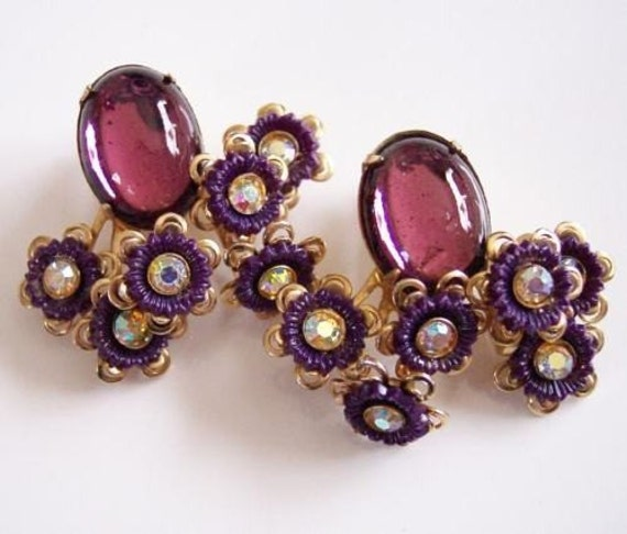 Vintage Purple Glass Cabachon and AB Rhinestone Floral Earrings