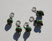Green and Black Ceramic Stitch Markers