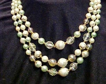 Vintage Green Three Strand Necklace Hand Painted Beads Japan