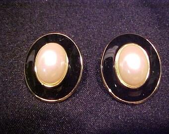 Gold Monet Clip Black and White Earrings