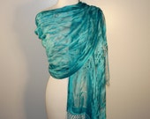 Hand Painted Silk Shawl Peacock Feather Blue-  ready to ship -wedding or special occasion