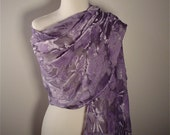 Smokey Amethyst Hand Painted Velvet Shawl or Large Scarf
