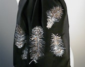 Hand Painted Owl Feathers Silk Scarf- Great Horned Owl