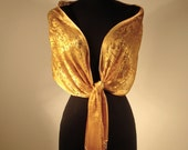 Hand Painted Gold Silk Shawl  Made to Order-wedding or special occasion