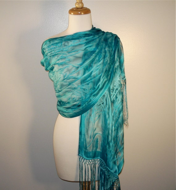 Ready to Ship- Hand Painted Silk Shawl Peacock Feather Blue-wedding or special occasion
