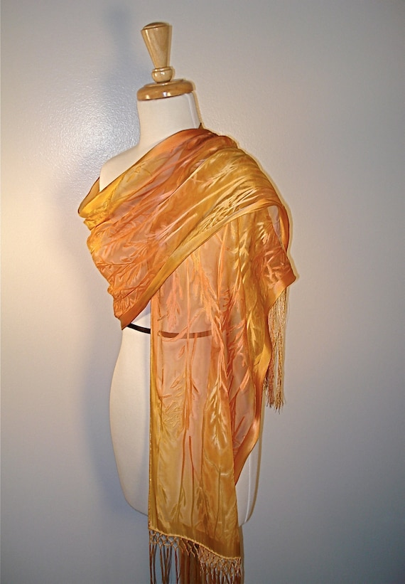Hand Painted Bamboo Leaf  Silk Shawl in Gold and Copper Made to Order