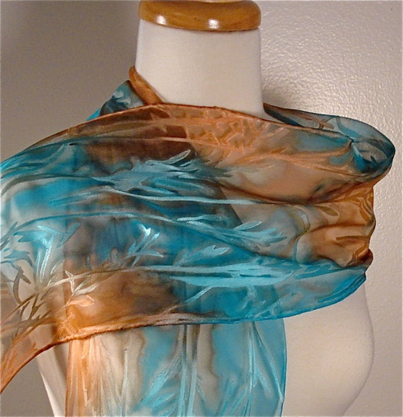 Hand Painted Silk Scarf in Turquoise and Copper- ready to ship