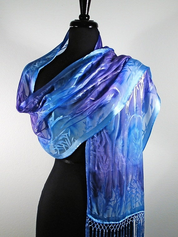 Silk Wrap  in cobalt and plum