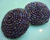 Peacock - Antique Carnival Glass Beaded Earrings