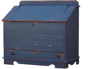 Blanket chest primitive painted early American colonial  reproduction farmhouse furniture  country box trunk