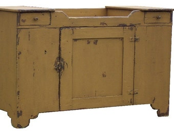 Primitive dry sink farmhouse rustic painted cabinet cupboard reproduction furniture country Early American