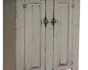 Primitive farmhouse jelly cupboard cabinet  painted  Early American rustic colonial reproduction  country furniture