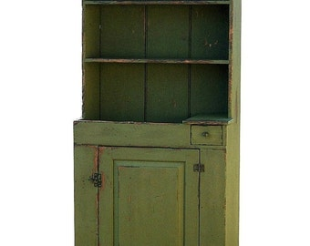 Primitive farmhouse hutch step back dry sink rustic kitchen cupboard painted stepback country reproduction furniture cabinet