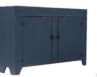 Early American farmhouse dry sink cabinet painted reproduction rustic  country primitive cupboard furniture