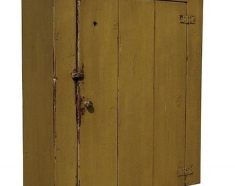 Wall cupboard primitive cabinet painted country farmhouse Early American Reproduction style furniture
