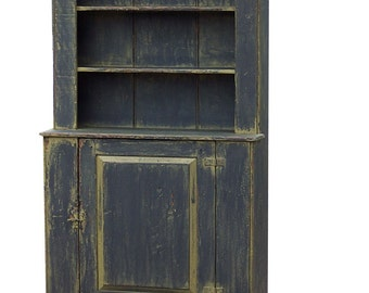 Primitive hutch step back cupboard painted country farmhouse Early American rustic  stepback cabinet