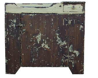 Painted country primitive dry sink cupboard cabinet rustic farmhouse Early American reproduction furniture