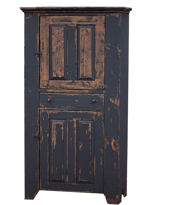 Primitive farmhouse kitchen cupboard cabinet country for Reproduction kitchen cabinets