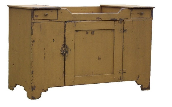 Primitive painted farmhouse dry sink antique reproduction painted country Early American style furniture