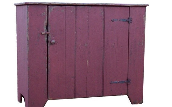 Primitive farmhouse furniture kitchen cupboard Early American country pine reproduction farm cabinet