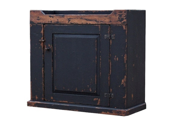 Farmhouse dry sink cupboard primitive country furniture painted old black reproduction cabinet