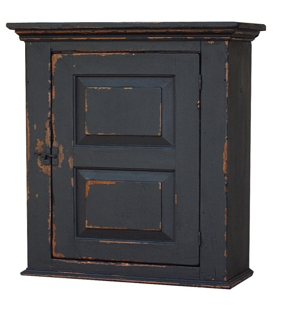 Primitive wall cabinet cupboard painted country reproduction Early American decor