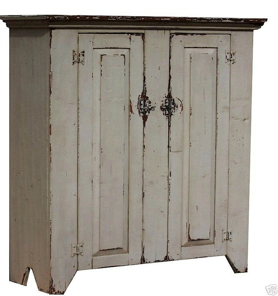 Primitive reproduction farmhouse jelly cupboard cabinet painted  Early American country furniture