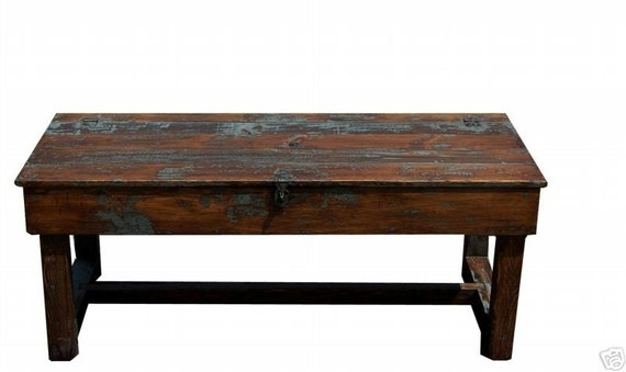 Farmhouse primitive coffee farm table trunk rustic pine country painted reproduction furniture