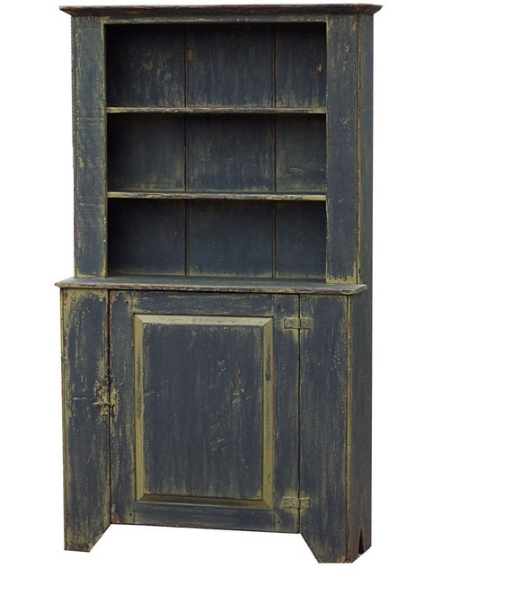 Rustic hutch primitive cabinet step back cupboard painted