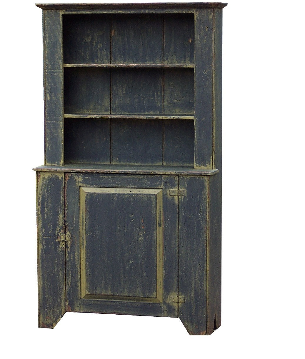 Rustic hutch primitive cabinet step back cupboard painted for Cupboard cabinet