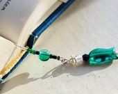 On SALE, Gone Fishing, Book Thong,  bookmark with green bead fish charm