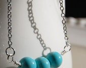 Silver and Turquoise Necklace, Robins Egg blue shade stones