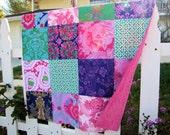 32x32 Jennifer Paganelli Grape, Fuchsia & Kelly Green Baby Blanket Made to Order