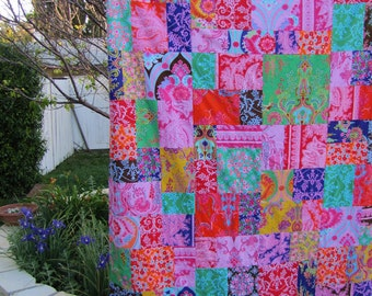 Crazy Love 40x56 Random Patchwork Minky Blanket or Throw made to order
