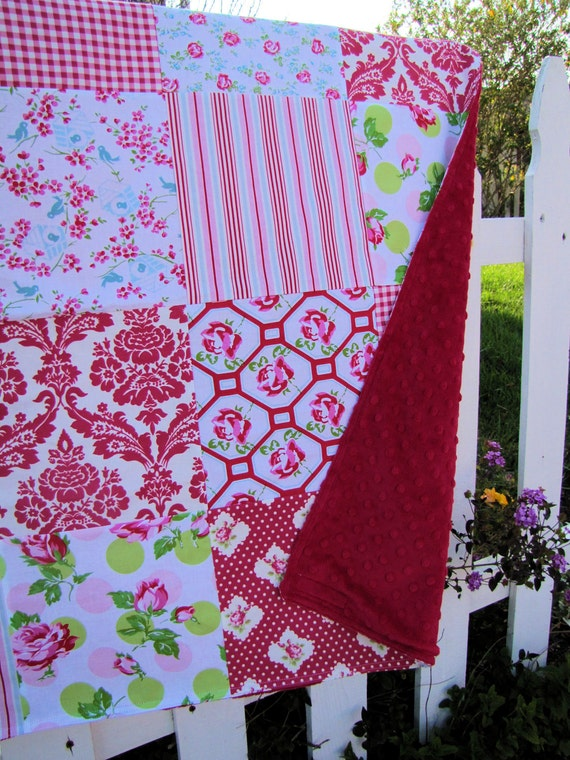 32x32 Pink and Red Tanya Whelan Baby Blanket Ready to Ship