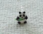 Glass Panda Bear with Bamboo Charm