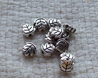 6 x 6 x 2 mm Tibetan Silver Double-Sided Leaf Beads - Set of 14