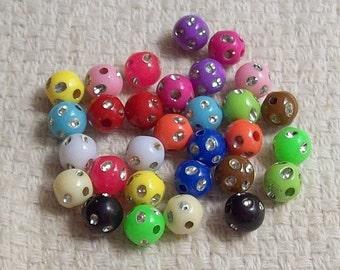 8 mm Acrylic Sparkly Bead Assortment - Set of 26