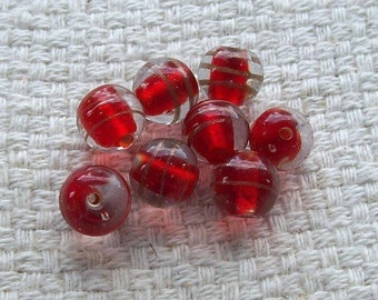 SALE - 9 mm Red Glass Beads with Gold Swirls - Set of 12