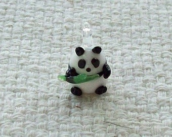 19 x 11 mm Glass Panda Bear with Bamboo Charm