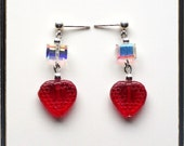Strawberry Tarts Glass Heart and Crystal Earrings