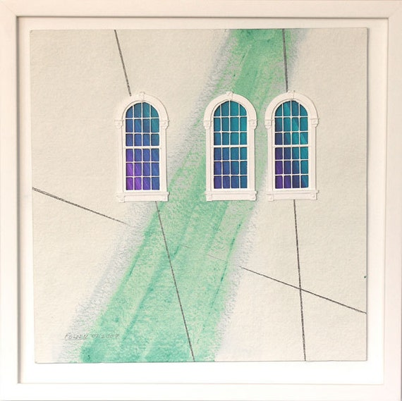 Windowed Triad - mixed-media on paper