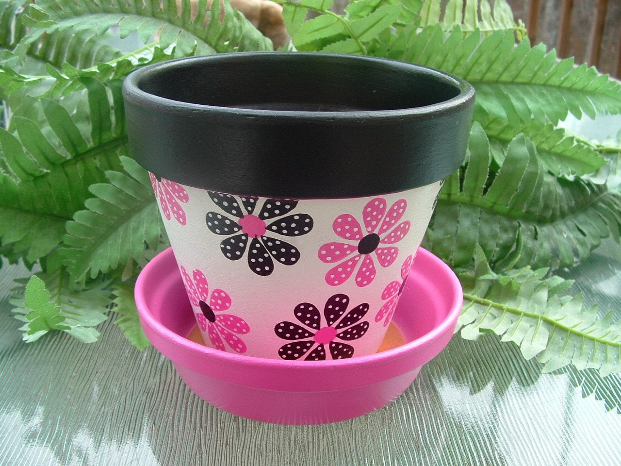 Pink and black flower hand painted clay pot for Small clay flower pots