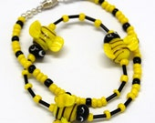 Buzz, Buzz, Buzz -- Child's Beaded Lampwork Necklace