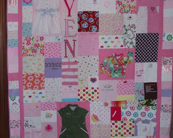 QUEEN size Patchwork quilt made from your clothes, baby items or other material - CUSTOM ORDERS