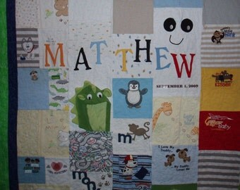 Twin size -Baby Clothes Quilt - CUSTOM ORDERS (plain fabric borders)